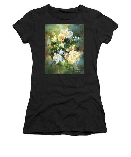 Women's T-Shirt featuring the painting Blooming by Tithi Luadthong