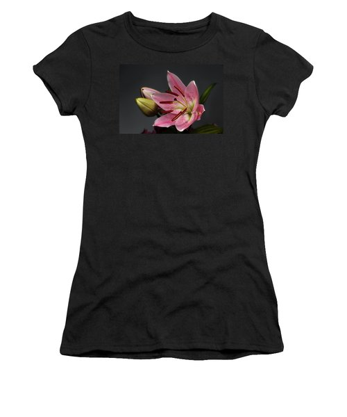 Blossoming Pink Lily Flower On Dark Background Women's T-Shirt
