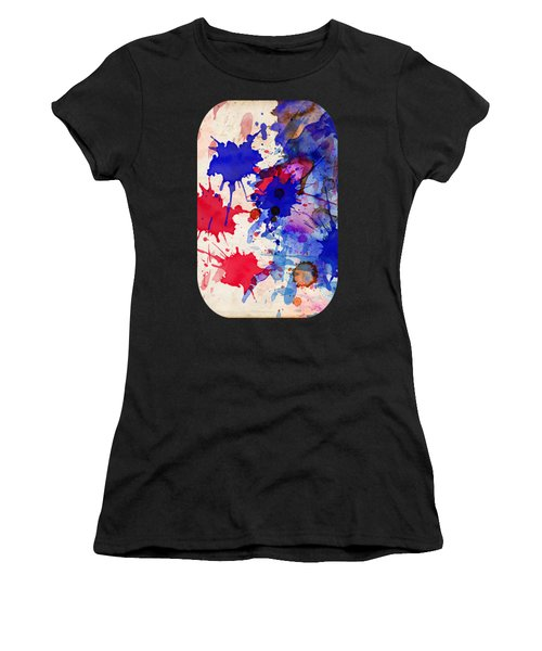 Blue And Red Color Splash Women's T-Shirt