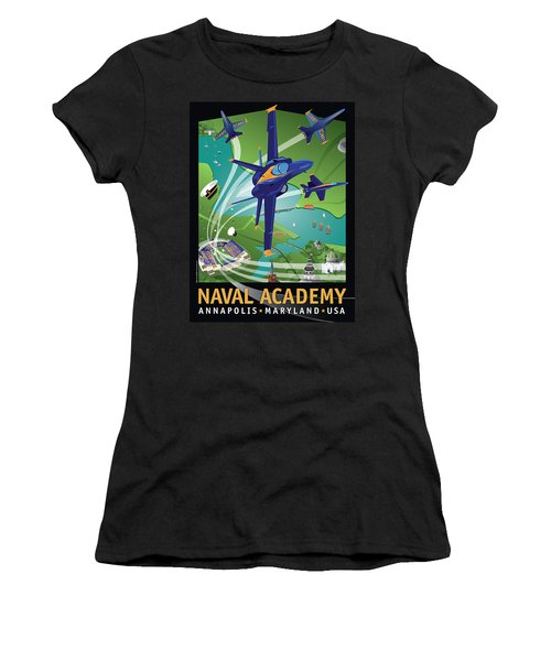 Blue Angels Over Usna Women's T-Shirt (Athletic Fit)