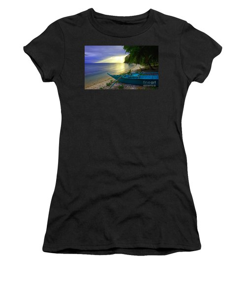 Blue Boat And Sunset On Beach Women's T-Shirt