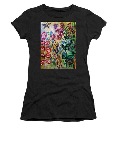 Blue Bug In The Magic Garden Women's T-Shirt