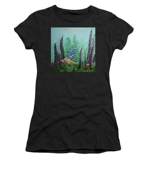Blue Chickadee Standing On A Rock 1 Women's T-Shirt
