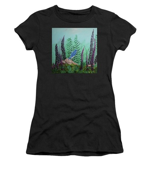 Blue Chickadee Standing On A Rock 1 Women's T-Shirt (Athletic Fit)