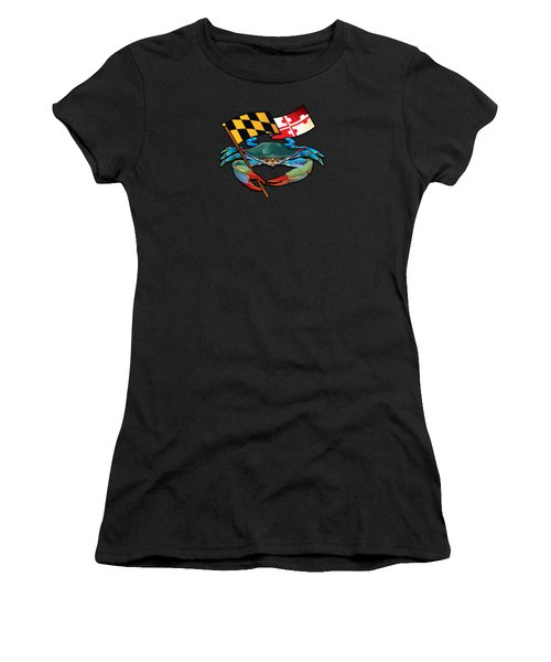 Blue Crab Maryland Flag Women's T-Shirt (Athletic Fit)
