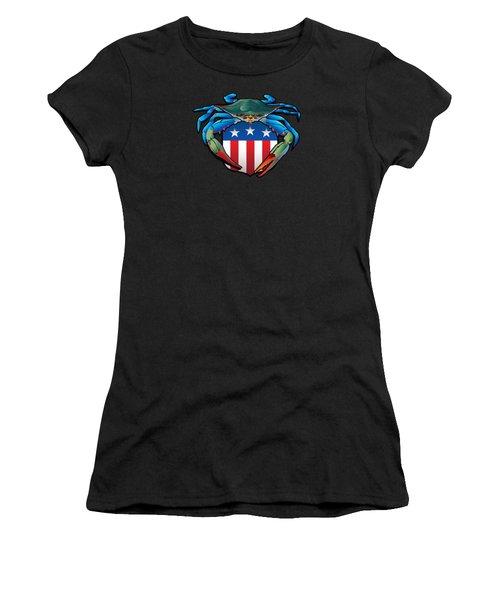 Blue Crab Usa Crest  Women's T-Shirt (Athletic Fit)