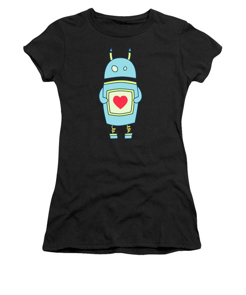Blue Cute Clumsy Robot With Heart Women's T-Shirt (Athletic Fit)
