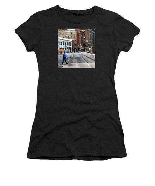Blue Down Jacket Women's T-Shirt