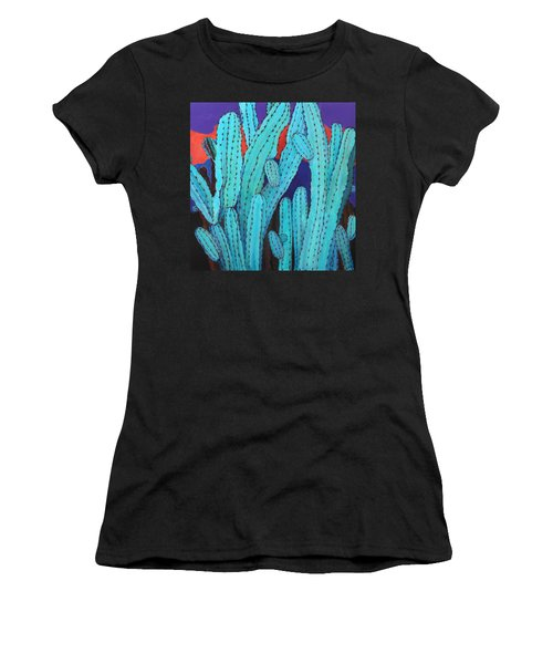 Blue Flame Cactus Acrylic Women's T-Shirt (Athletic Fit)