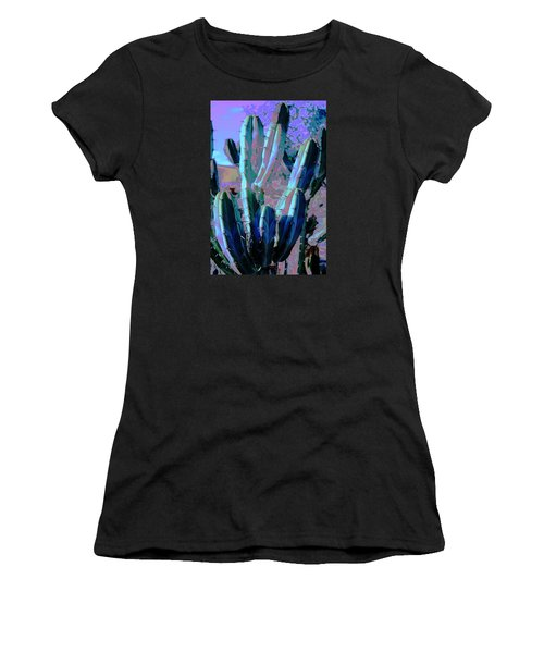 Women's T-Shirt (Junior Cut) featuring the photograph Blue Flame Cactus Moonglow by M Diane Bonaparte