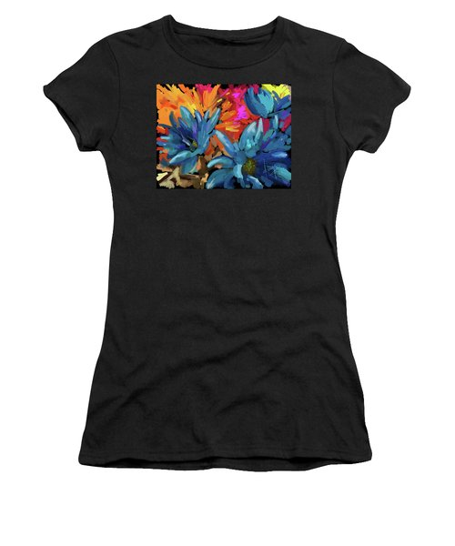 Women's T-Shirt (Junior Cut) featuring the painting Blue Flowers 2 by DC Langer