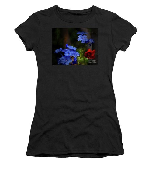 Blue Flowers Growing Up The Apple Tree Women's T-Shirt (Athletic Fit)