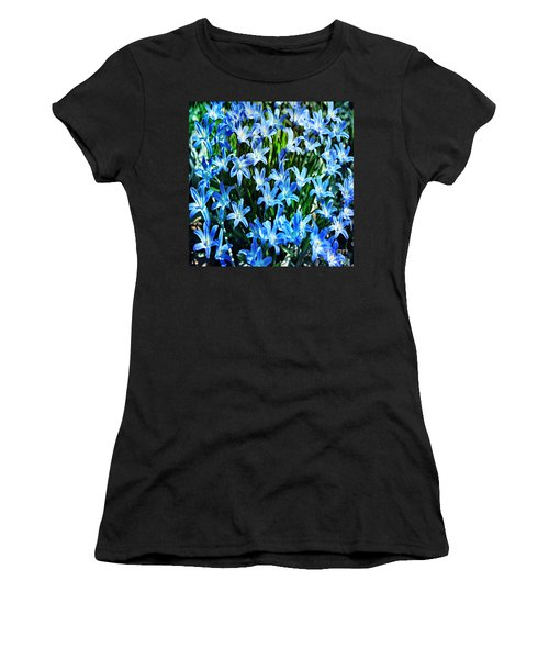 Blue Glory Snow Flowers  Women's T-Shirt (Athletic Fit)