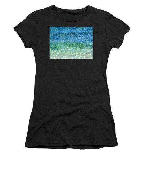 Blue Green Waves Women's T-Shirt (Athletic Fit)
