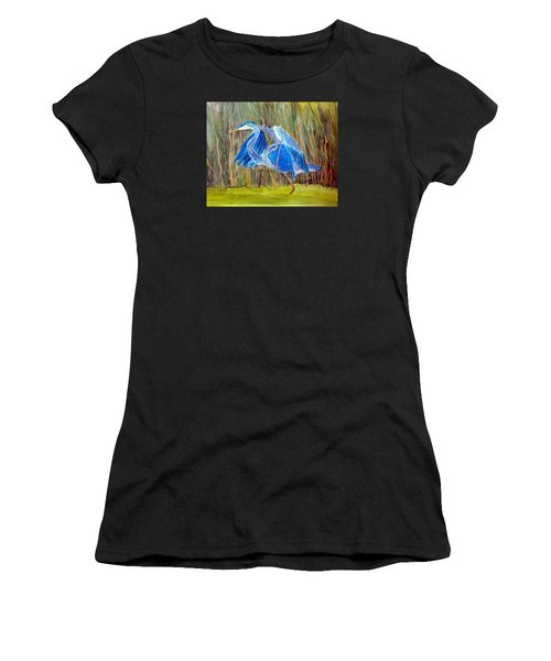 Blue Heron In Viera  Florida Women's T-Shirt (Athletic Fit)