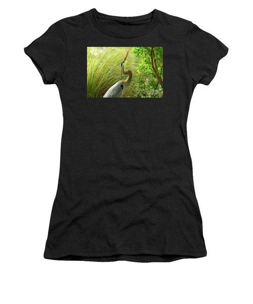 Blue Heron Series Getting The Twig Women's T-Shirt