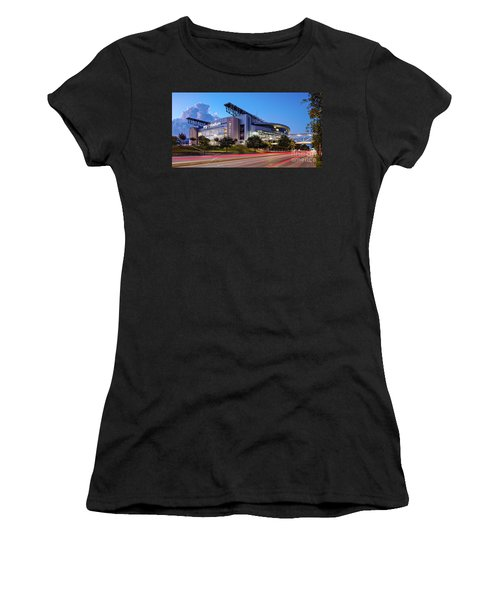 Blue Hour Photograph Of Nrg Stadium - Home Of The Houston Texans - Houston Texas Women's T-Shirt (Athletic Fit)