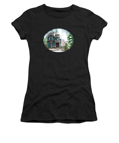 Blue House On A Grey Day Women's T-Shirt