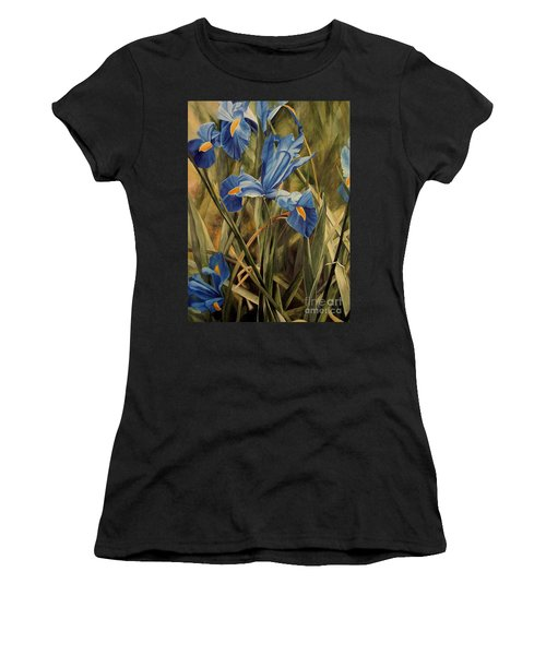 Women's T-Shirt (Junior Cut) featuring the painting Blue Iris by Laurie Rohner