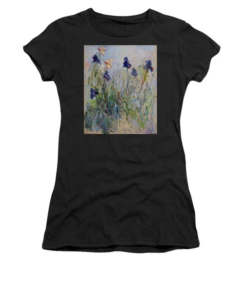 Blue Irises In The Field, Painted In The Open Air  Women's T-Shirt (Athletic Fit)