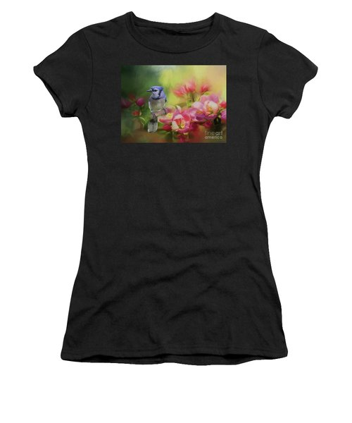 Blue Jay On A Blooming Tree Women's T-Shirt (Athletic Fit)