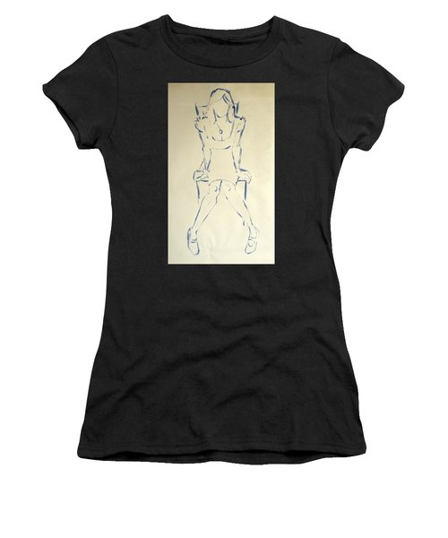 Blue Line Painting Of Woman Sat On Chair With Hands On The Sides Of Her Legs Women's T-Shirt