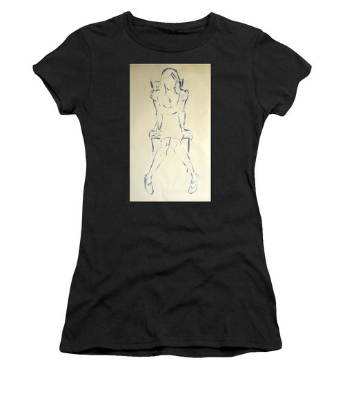 Blue Line Painting Of Woman Sat On Chair With Hands On The Sides Of Her Legs Women's T-Shirt (Athletic Fit)
