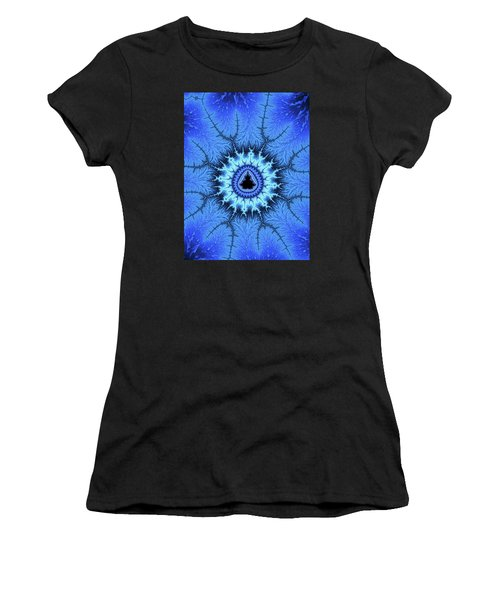 Women's T-Shirt (Athletic Fit) featuring the digital art Blue Mandelbrot Fractal Relaxing And Balanced by Matthias Hauser
