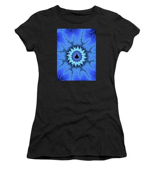 Women's T-Shirt featuring the digital art Blue Mandelbrot Fractal Relaxing And Balanced by Matthias Hauser