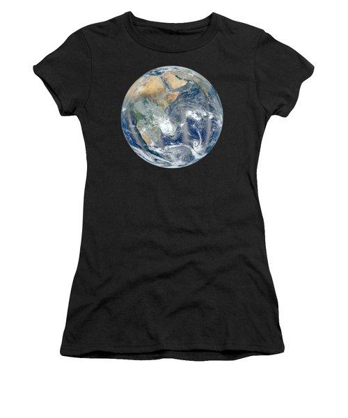 Blue Marble 2012 - Eastern Hemisphere Of Earth Women's T-Shirt (Junior Cut) by Nikki Marie Smith