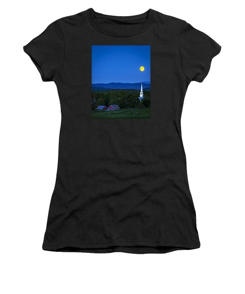 Blue Moon Rising Over Church Steeple Women's T-Shirt (Athletic Fit)