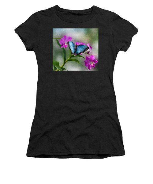 Blue Morpho With Orchids Women's T-Shirt