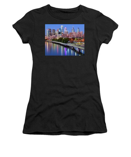 Women's T-Shirt (Junior Cut) featuring the photograph Blue Night Lights In Philly by Frozen in Time Fine Art Photography