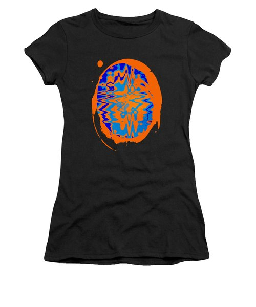 Blue Orange Abstract Art Women's T-Shirt (Athletic Fit)