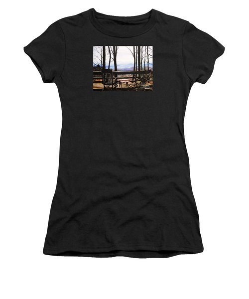 Women's T-Shirt (Junior Cut) featuring the painting Blue Ridge Mountain Porch View by Patricia L Davidson