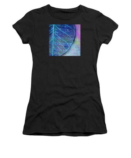 Blue Skeletal Leaf Women's T-Shirt (Athletic Fit)