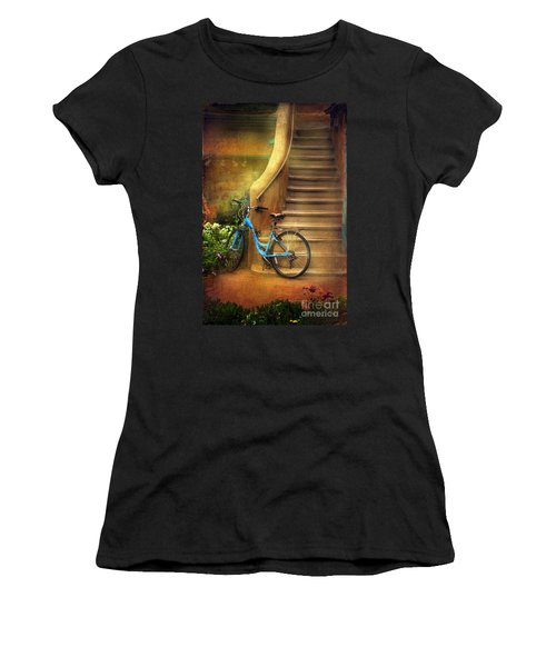 Women's T-Shirt (Junior Cut) featuring the photograph Blue Taos Bicycle by Craig J Satterlee