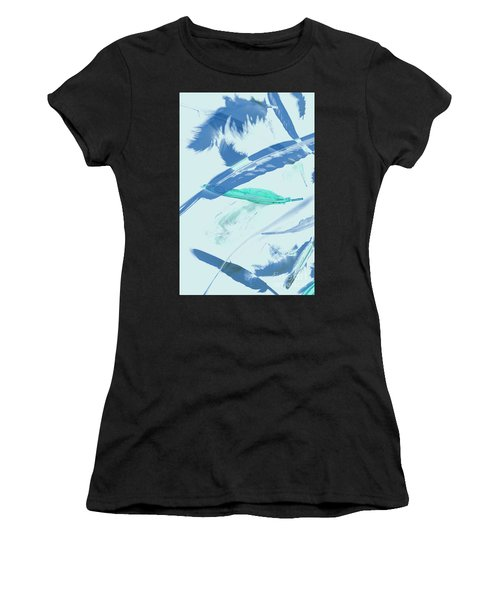 Blue Toned Artistic Feather Abstract Women's T-Shirt
