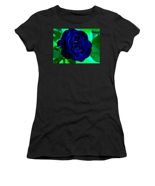 Blue Velvet Rose Women's T-Shirt (Athletic Fit)
