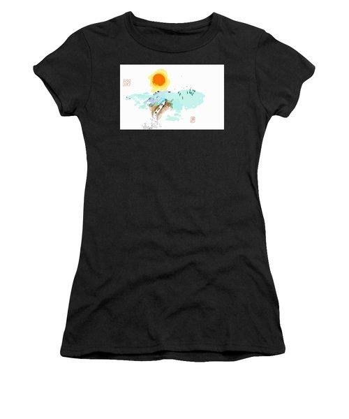 Blue Waterfalll Women's T-Shirt (Athletic Fit)