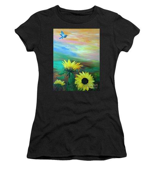 Bluebird Flying Over Sunflowers Women's T-Shirt