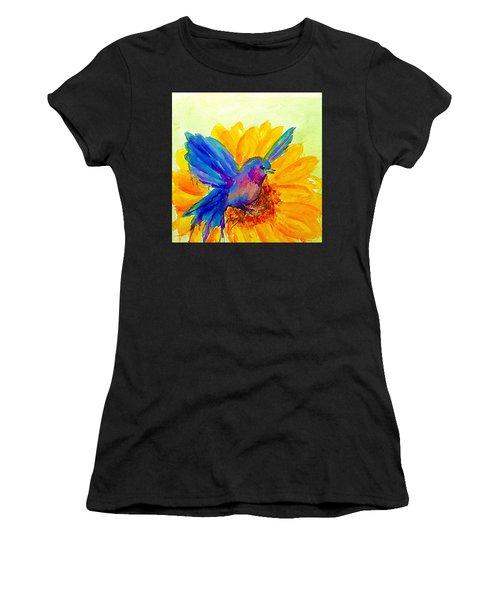 Bluebird On Sunflower  Women's T-Shirt (Athletic Fit)