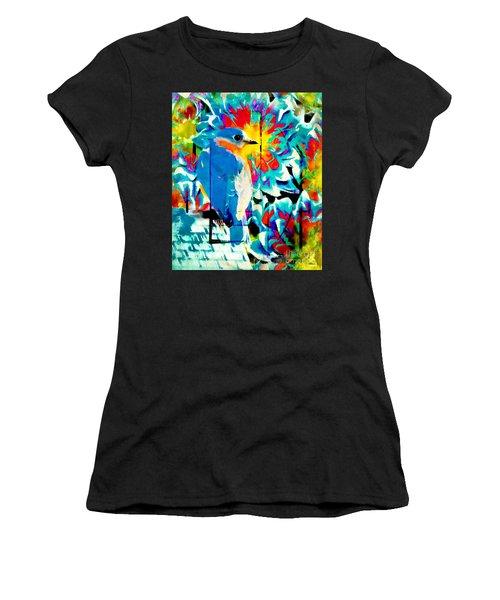 Bluebird Pop Art Women's T-Shirt (Athletic Fit)