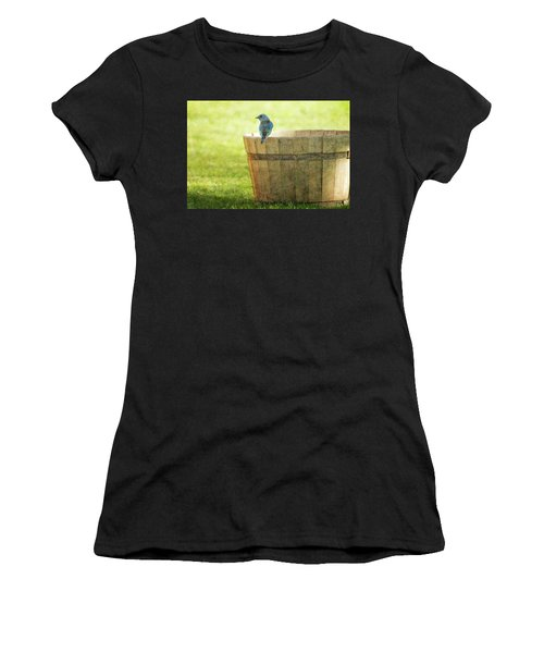 Bluebird Resting On Bucket, Textured Women's T-Shirt (Athletic Fit)