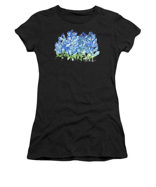 Bluebonnet Dance Watercolor By Kmcelwaine Women's T-Shirt (Athletic Fit)