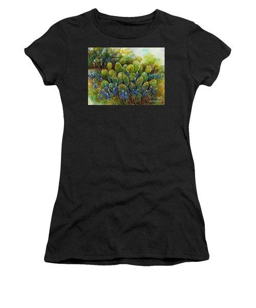 Bluebonnets And Cactus 2 Women's T-Shirt
