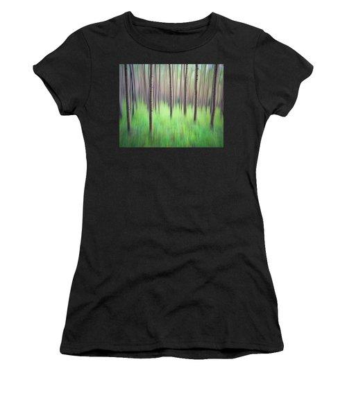 Blurred Aspen Trees Women's T-Shirt