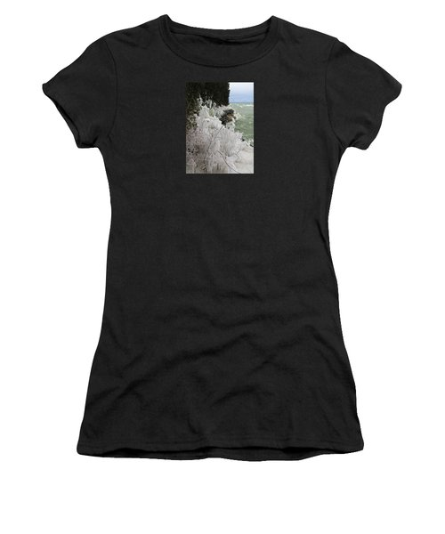 Women's T-Shirt (Athletic Fit) featuring the photograph Blustery Lake Michigan Day by Greta Larson Photography