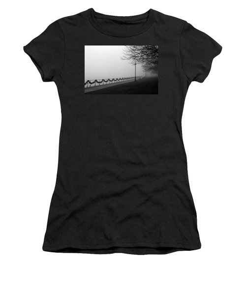 Women's T-Shirt (Junior Cut) featuring the photograph Boardwalk Fog 7 by Mary Bedy