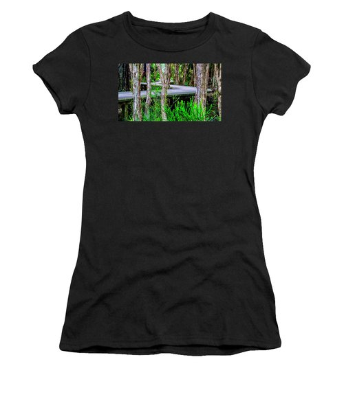 Boardwalk In The Woods Women's T-Shirt (Athletic Fit)